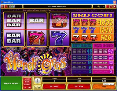 Rich Reels featuring the Video Slots Mardi Gras with a maximum payout of $200,000