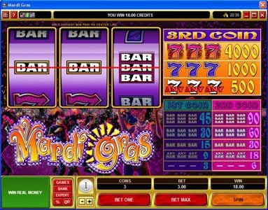 Vegas Joker featuring the Video Slots Mardi Gras with a maximum payout of $200,000