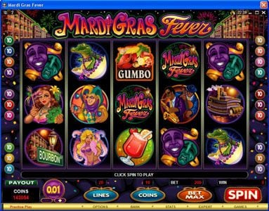 Play slots at iLucki: iLucki featuring the Video Slots Mardi Gras Fever with a maximum payout of $10,000