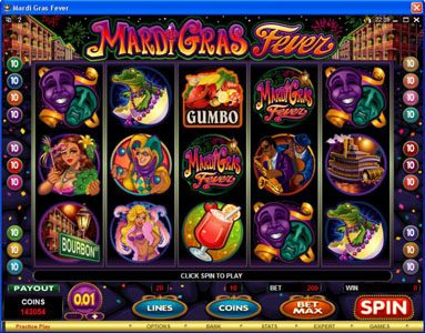 Bonanza featuring the Video Slots Mardi Gras Fever with a maximum payout of $10,000