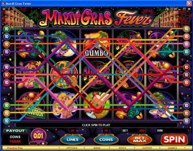 Slotty Vegas featuring the Video Slots Mardi Gras Fever with a maximum payout of $10,000