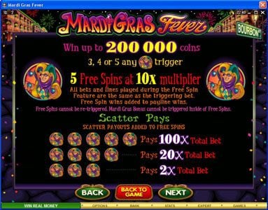 Fun Casino featuring the Video Slots Mardi Gras Fever with a maximum payout of $10,000