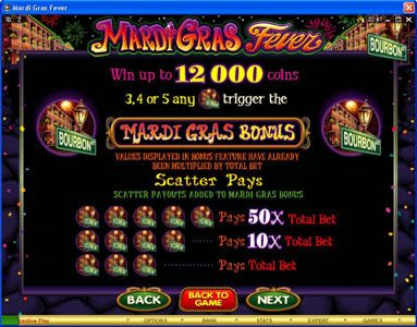 House of Jack featuring the Video Slots Mardi Gras Fever with a maximum payout of $10,000