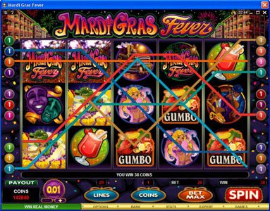 Come On featuring the Video Slots Mardi Gras Fever with a maximum payout of $10,000