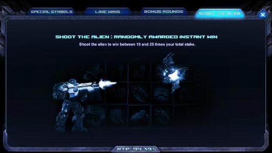 shoot the alien: randomly awarded instant win