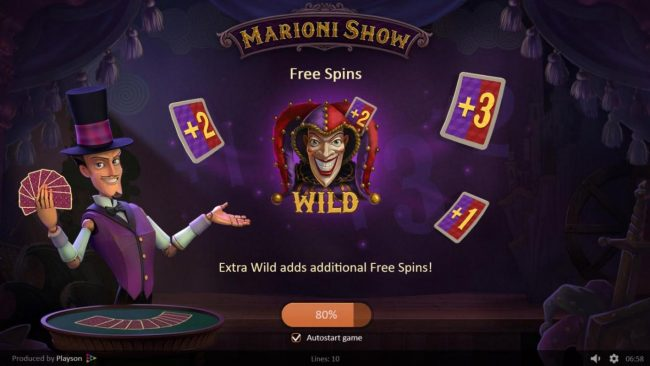 Split Aces featuring the Video Slots Marioni Show with a maximum payout of $1,250