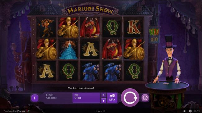 Marioni Show :: Main game board featuring five reels and 10 paylines with a $1,250 max payout.