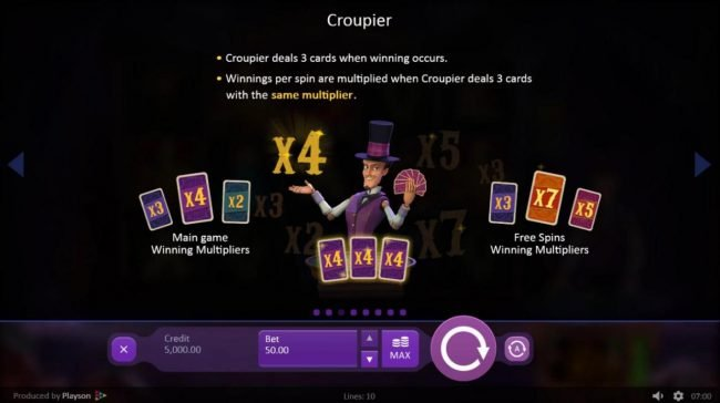 Marioni Show :: Croupier deals 3 cards when winning occurs. Winnings per spin are multiplied when coupier deal 3 cards with the same multiplier. Joker counts as a wild card.