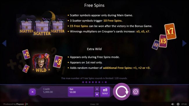 Marioni Show :: Free Spins Rules - Scatter symbol appear only during the main game. 3 scatter symbols trigger 10 free spins.