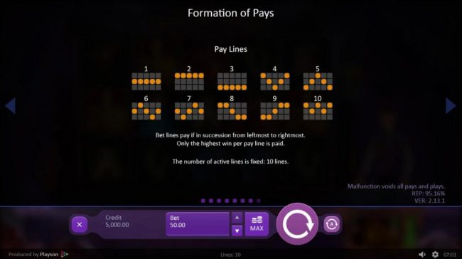 Marioni Show :: Payline Diagrams 1-10. Bet lines if in succession from leftmost to rightmost. Only highest win per pay line is paid.