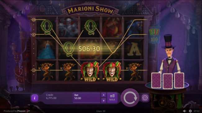 Marioni Show :: Multiple winning paylines triggers a big win and add 2 cards to the croupiers cards.!