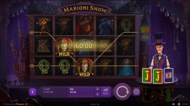 Marioni Show :: A pair of winning paylines combines with an x3 multiplier for a 180.00 payout.