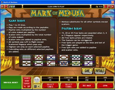 Slots Magic featuring the Video Slots Mark of Medusa with a maximum payout of $50,000