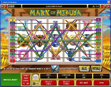 Wicked Jackpots featuring the Video Slots Mark of Medusa with a maximum payout of $50,000