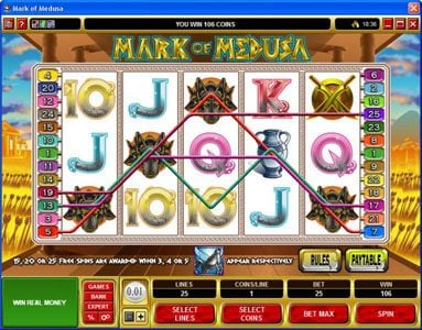Win Paradise featuring the Video Slots Mark of Medusa with a maximum payout of $50,000