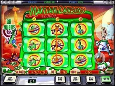 Video Poker Classic featuring the Video Slots Martian Landing with a maximum payout of $5,000