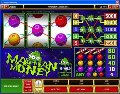 Platinum Play featuring the Video Slots Martian Money with a maximum payout of $25,000