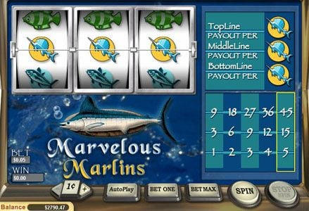 Liberty Slots featuring the Video Slots Marvelous Marlins with a maximum payout of $2,250