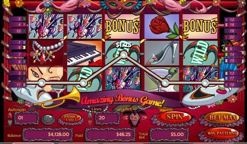 Play slots at Genesis Casino: Genesis Casino featuring the video-Slots Masquerade Ball with a maximum payout of 25,000x