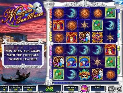 Cheeky Riches featuring the Video Slots Masques of San Marco with a maximum payout of $250,000