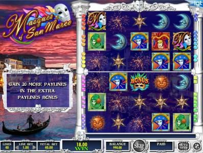 Thrills featuring the Video Slots Masques of San Marco with a maximum payout of $250,000