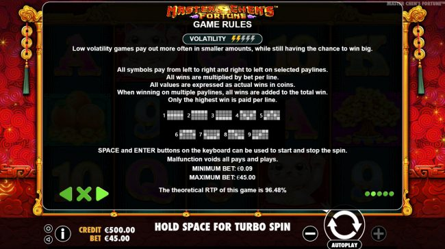 Rich Casino featuring the Video Slots Master Chens Fortune with a maximum payout of $475,000