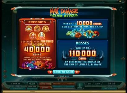 Play slots at Challenge: Challenge featuring the Video Slots Max Damage and the Alien Attack  Arcade Game with a maximum payout of $220,000