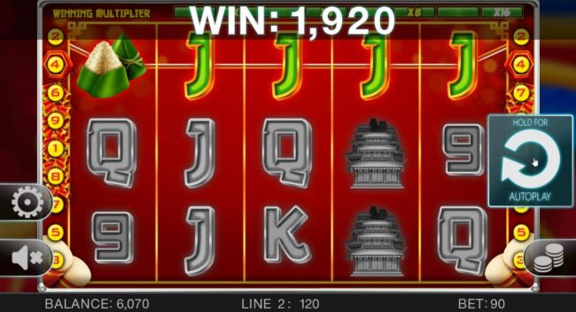 May Dance Festival :: A winning Four of a Kind combines with an x16 win multiplier leading to an 1,920 mega win.