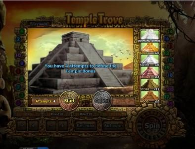 Temple Bonus Game Board - you have 4 attempts to define the Temple Bonus. Click Start.