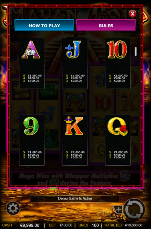 Winstar featuring the Video Slots Mayan Gold with a maximum payout of $1,000,000