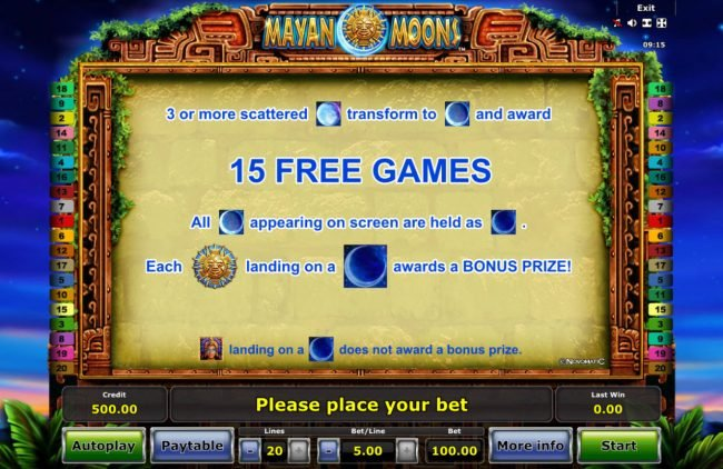 Pamper featuring the Video Slots Mayan Moons with a maximum payout of $50,000