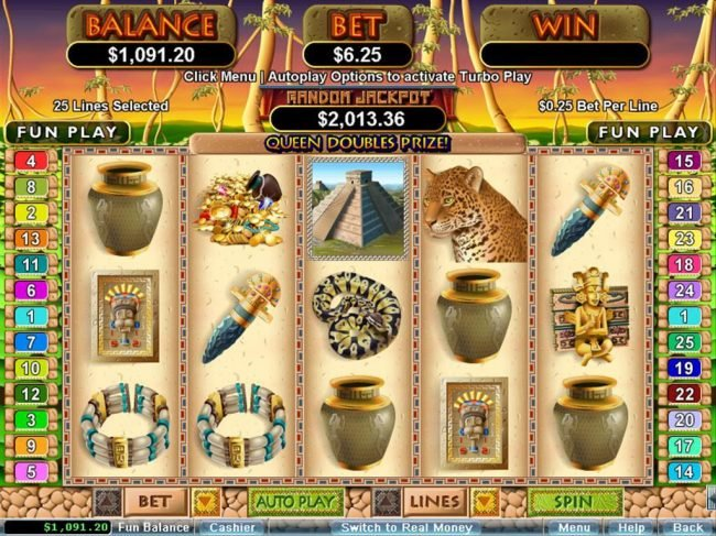 Planet7 Oz featuring the Video Slots Mayan Queen with a maximum payout of $250,000