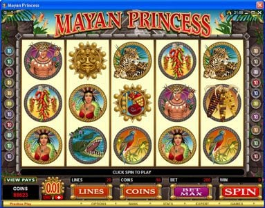 Play slots at Ruby Fortune: Ruby Fortune featuring the Video Slots Mayan Princess with a maximum payout of $20,000