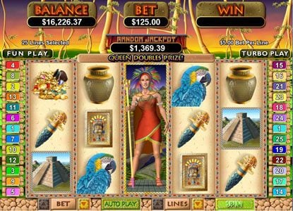 High Noon featuring the Video Slots Mayan Queen with a maximum payout of $250,000