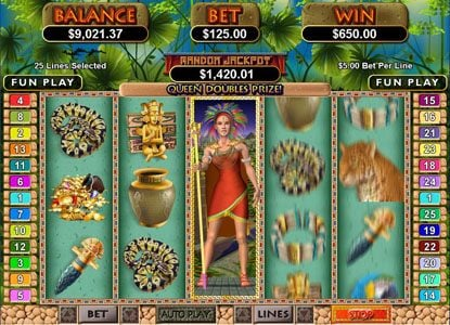 Royal Ace featuring the Video Slots Mayan Queen with a maximum payout of $250,000