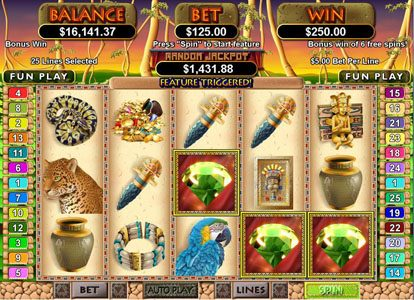 Diamond Reels featuring the Video Slots Mayan Queen with a maximum payout of $250,000
