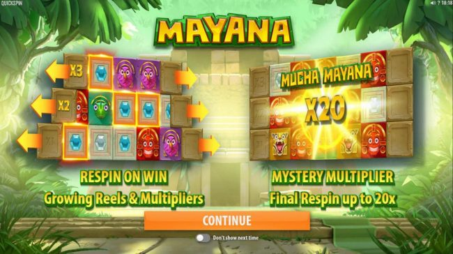 Boaboa featuring the Video Slots Mayana with a maximum payout of $145,800