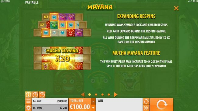 Casumo featuring the Video Slots Mayana with a maximum payout of $145,800