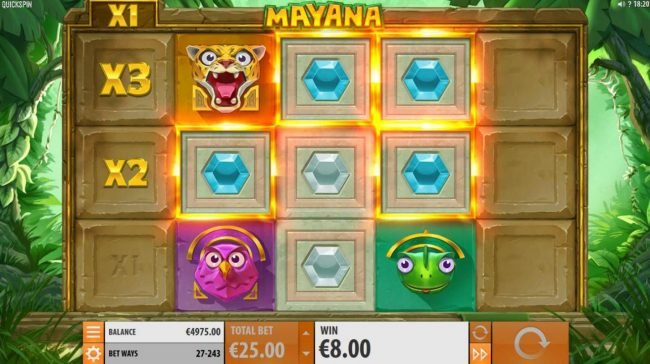 Rose Slots featuring the Video Slots Mayana with a maximum payout of $145,800