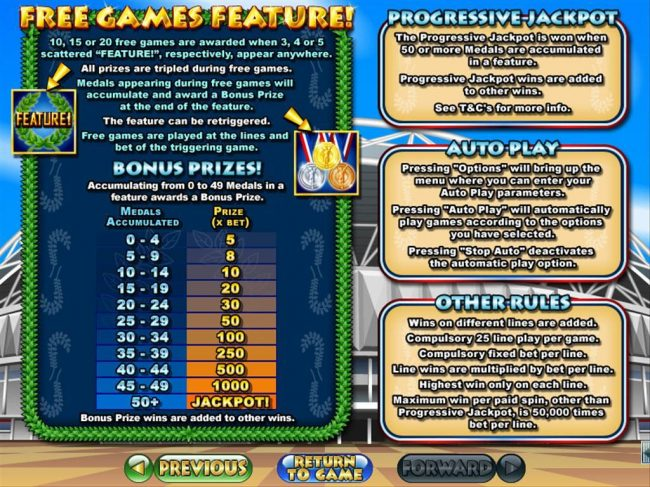 Free Games feature, Progressive Jackpot and General Game Rules