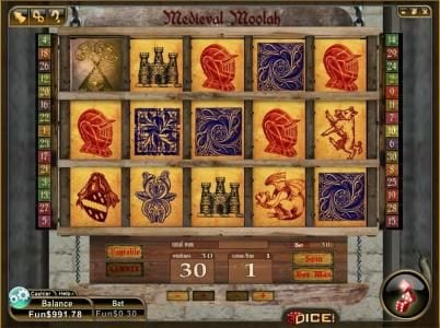 Play slots at 3Dice: 3Dice featuring the Video Slots Medieval Moolah with a maximum payout of $3,000