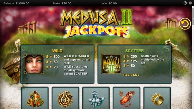 Hello featuring the Video Slots Medusa II Jackpots with a maximum payout of $25,000