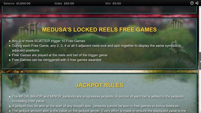 Royal House featuring the Video Slots Medusa II Jackpots with a maximum payout of $25,000