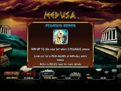 Euro Slots featuring the Video Slots Medusa with a maximum payout of $10,000