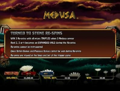 Medusa :: turned to stone re-spins rules