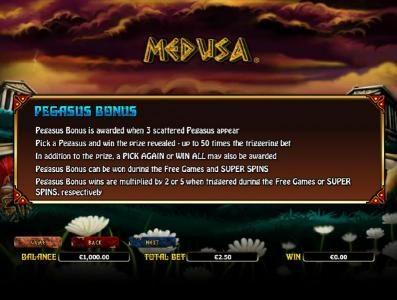 Medusa :: how to play the pegasus bonus feature