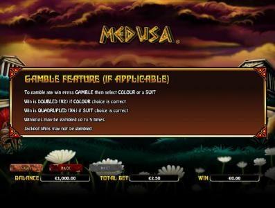 Medusa :: gamble feature rules