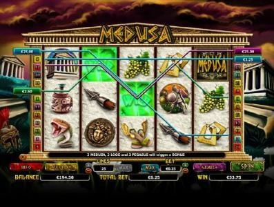 Medusa :: multile winning paylines triggers a $53 jackpot