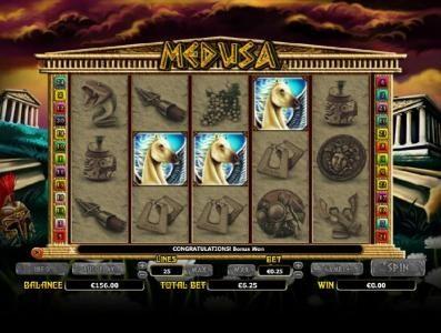 three pegasus symbols triggers bonus feature