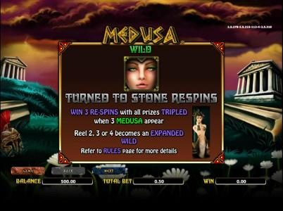 Wild symbols rules. win 3 re-spins with all prizes triples when 3 medusa symbols appear